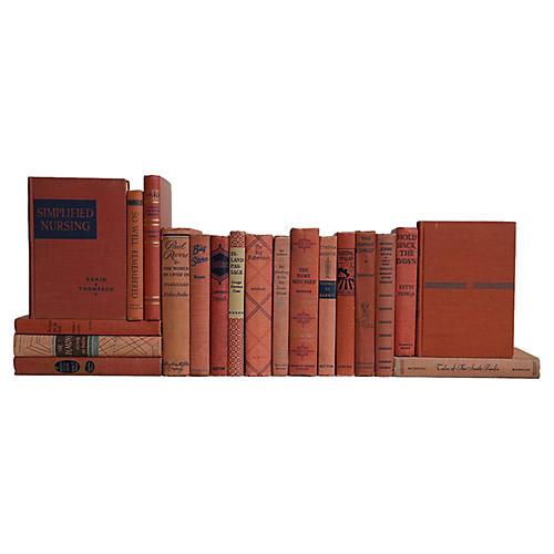 Midcentury Book Set: Salmon & Blue, S/20