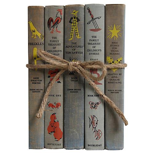 Weathered Gray Children's Stories, S/5