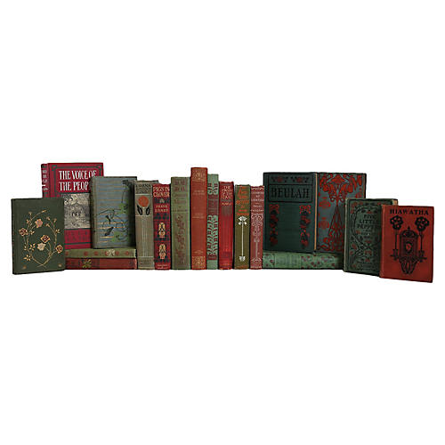 Vintage Floral in Green and Red Book Set