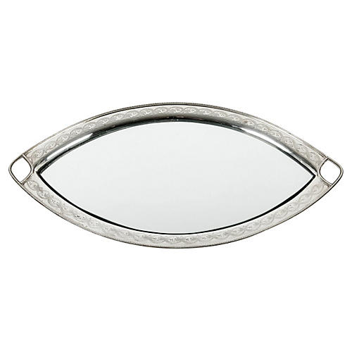 Antique Plated English Footed Tray