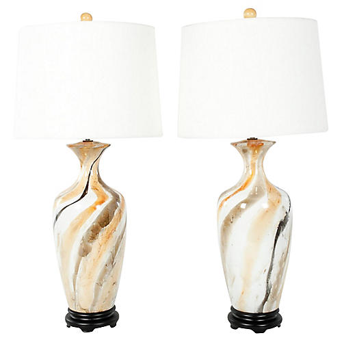 Porcelain Table Lamps, Pair