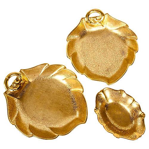 Gold Leaf Serving Dish, S/3