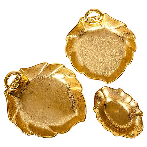 Gold Leaf Serving Dish, S/3