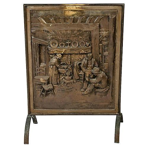 Antique English Brass Fire Screen