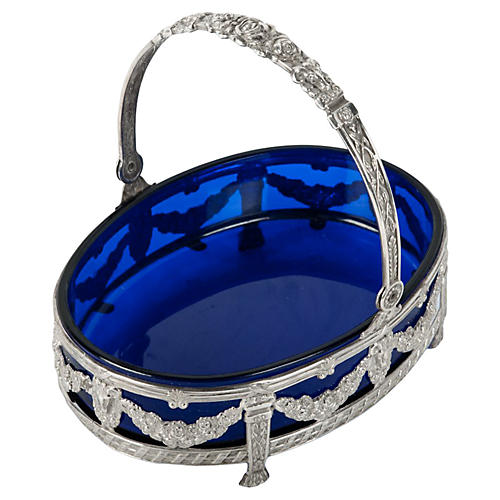 English Sterling & Cobalt Glass Dish