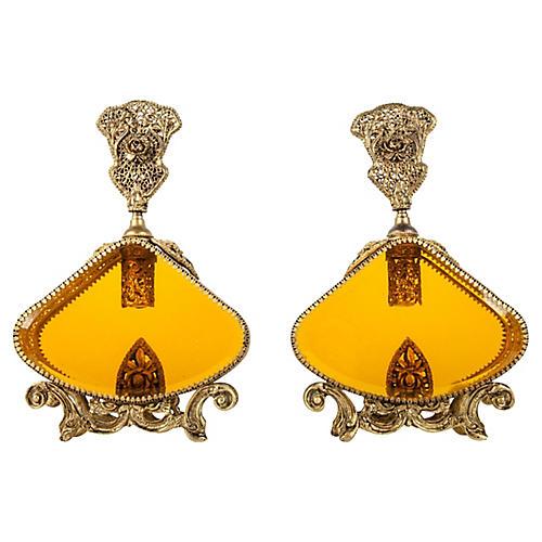 Antique Brass Perfume Bottles, Pr