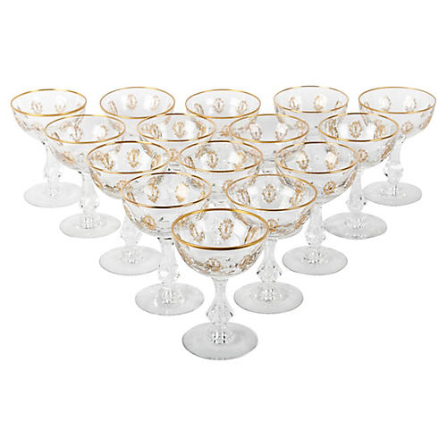 Vintage Cut Crystal Coupes / Martini .