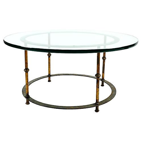Brass Coffee Table w/ Glass Top