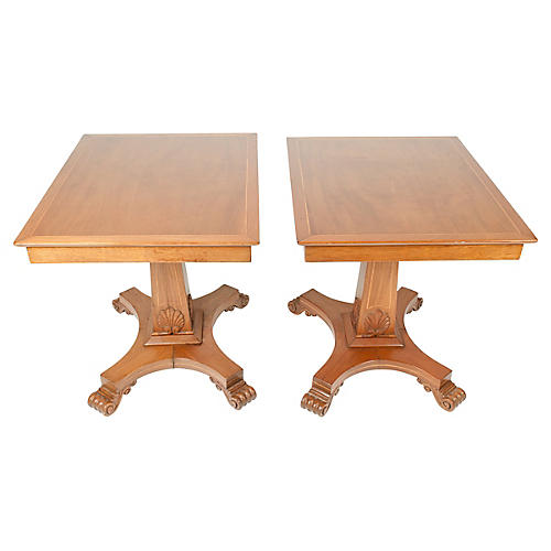 Antique Light Mahogany Side Tables, Pair