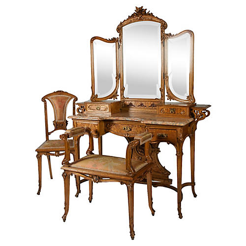 Art Nouveau Vanity Set, 3 Pcs