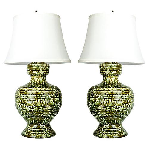 Porcelain Table Lamps, S/2