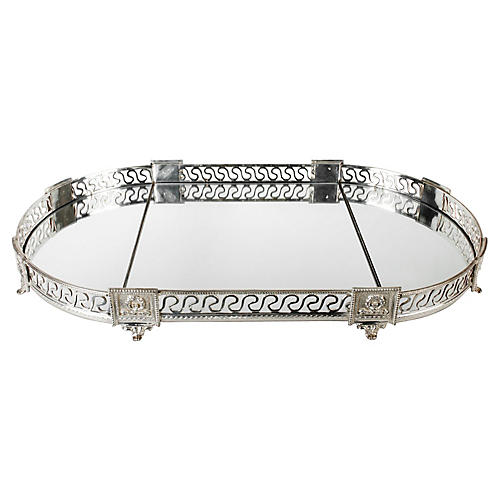 French Silver-Plate & Mirror 3-Pc Tray