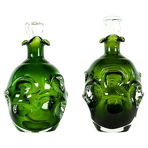 Green Crystal Decanters, S/2