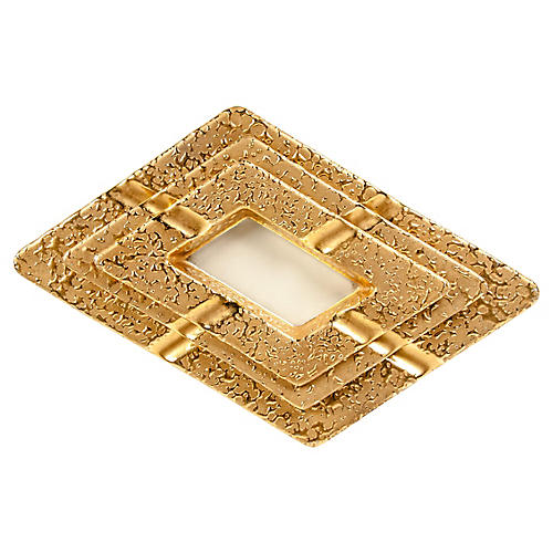 22K Gold Porcelain Nesting Ashtrays, S/3