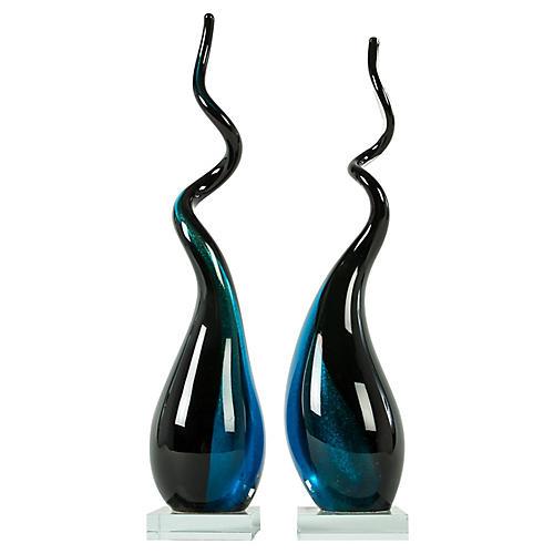Murano Glass Deco Sculptures, Pair