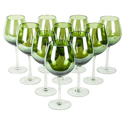 Crystal Wineglasses, S/10