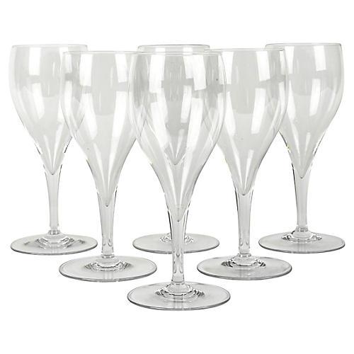 Crystal Wineglasses, S/6