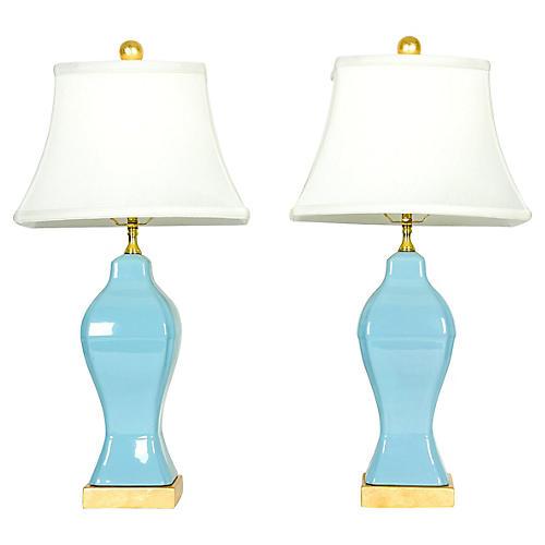S/2 Blue Porcelain Table Lamps