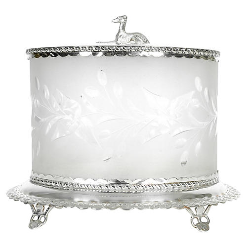 Antique Cut-Crystal Footed Canister