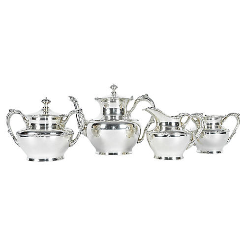 Antique Silver-Plate Tea Set, 4 Pcs