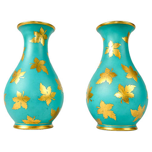 English Turquoise Porcelain Vases, Pair