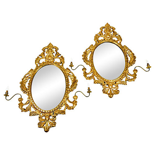 Italian Giltwood Mirror Sconces, Pair