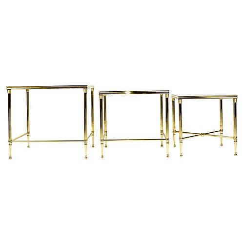 Brass & Glass Nesting Tables, S/3