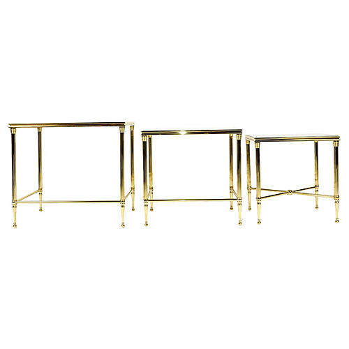Brass & Glass Nesting Tables, S/3