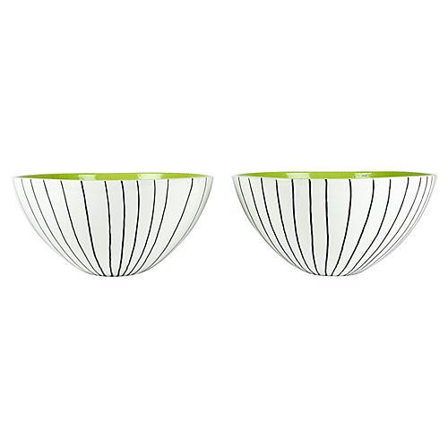 Large Italian Porcelain Deco Bowls, Pair