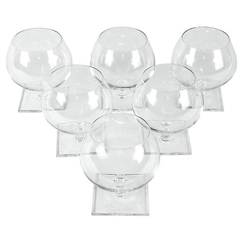 Crystal Brandy Glasses, S/6