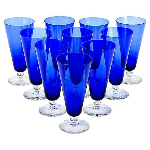 Cobalt Crystal Juice Glasses, S/10