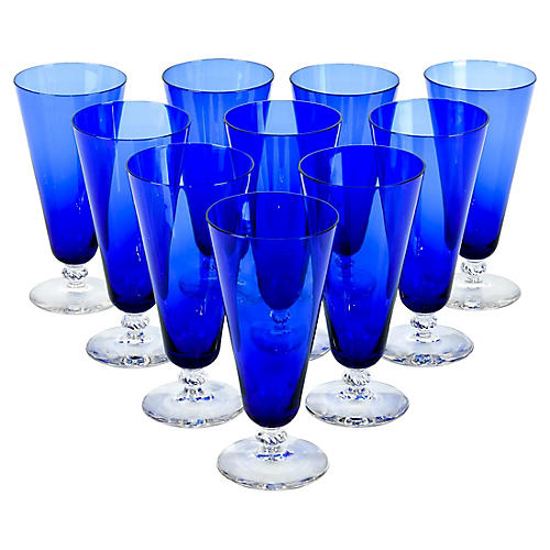 Cobalt Crystal Juice Glasses, S/10