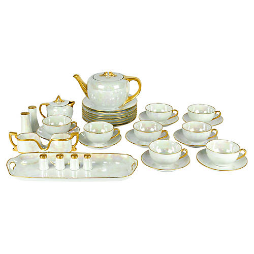 German Lusterware Luncheon Set, 31 Pcs