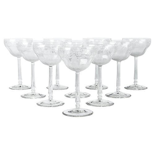 Etched Crystal Coupes, S/10