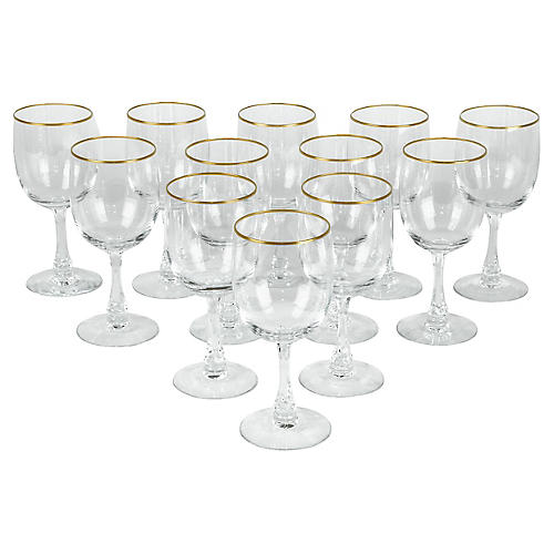 Crystal Wineglasses, S/12
