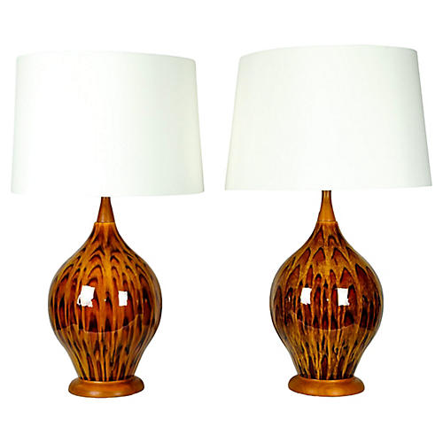 Vintage Italian Glazed Porcelain Lamps