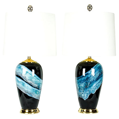 Vintage Porcelain Pair Table Lamps