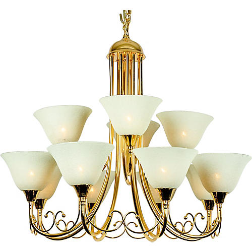 12-Arm Glass & Brass Chandelier