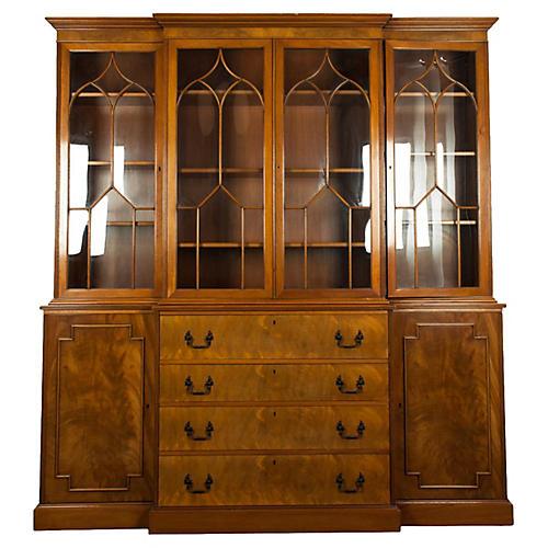 Vintage Burlwood Hutch/China Cabinet