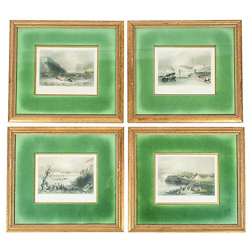 Antique Giltwood Framed Prints, S/4