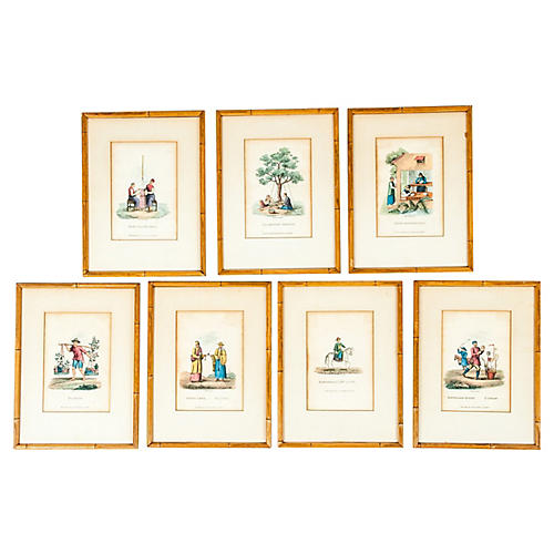 Antique Chinoserie Prints, S/7