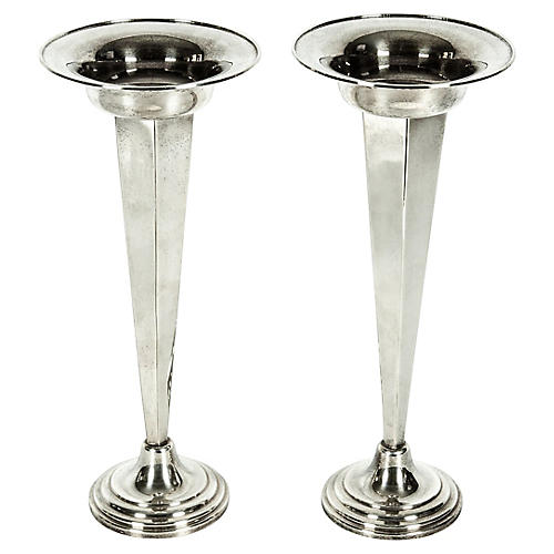 Silver-Plate Vases, S/2