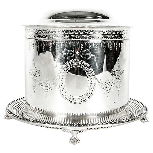 English Silver-Plate Covered Tea Caddy