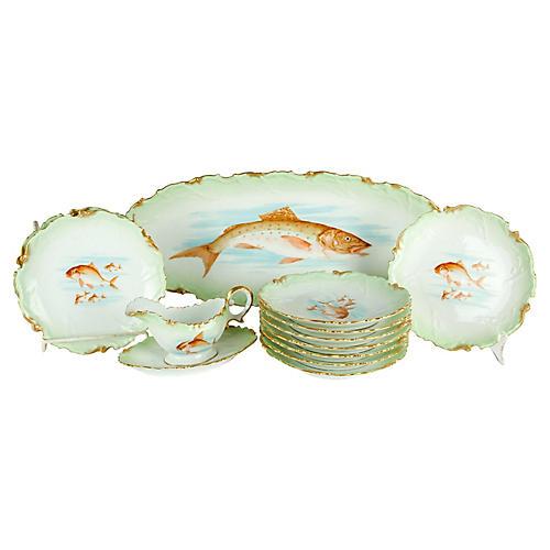 Antique Limoges 13 Pieces Fish service