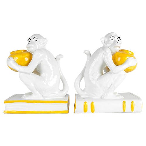 Italian Royal Porcelain Monkeys Bookends
