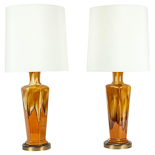 Porcelain Table Lamps, S/2