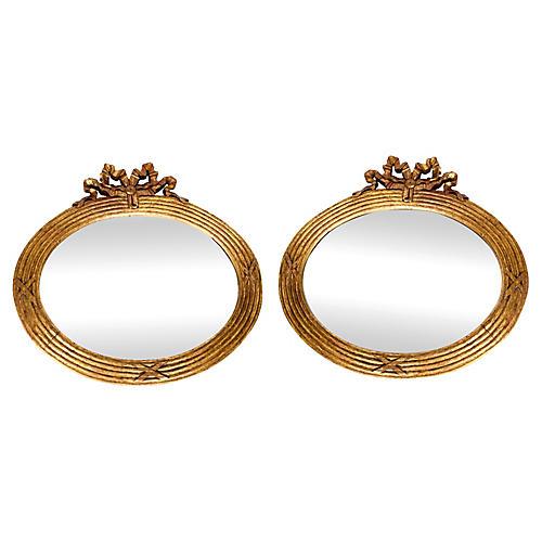 Wood Frame Bevelled Mirrors, Pair