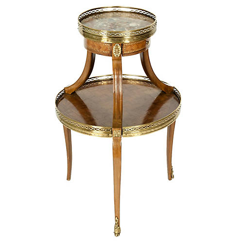 Two-Tier Marble-Top Marquetry Side or En