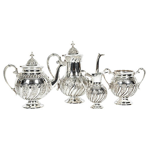 English Silver-Plate Tea & Coffee Set