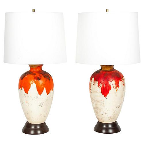 Vintage Pair Drip Glazed Task Lamp.